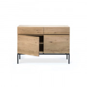 Oak Linga Sideboard - Black Metal - 2 Doors - 2 Drawers - 110 x 45 x 78 cm