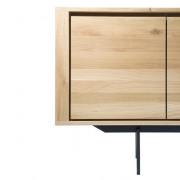 Oak Shadow Sideboard - 3 Doors - 3 Drawers - Black Metal Legs - 224 x 45 x 80 cm
