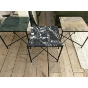 Side table black frame brown marble