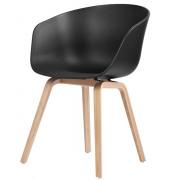 AAC 22 stoel zwart met eikenhouten poten
