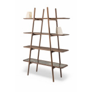 Malin Shelf 4 Layers - Walnut & Marble - 170 x 120 x 40 cm