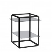 Florence side table iron black + grey marble shelves
