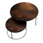 Bronze Nesting Coffee Table Set - Heavy Aged - ø 61 en 92cm