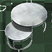 Clear Nesting Coffee Table Set - Heavy Aged - Ø 61 x 36 cm & Ø 92 x 41 cm