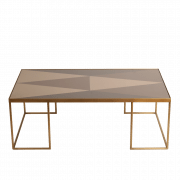 Geometric Bronze Coffee Table - 102 x 61 x 36 cm