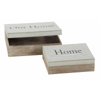 CHERBOURG set 2 storage boxes - Natural