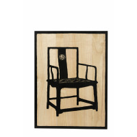 MANDARIN - wall panel w/chinese chair - paulownia - nat/black - handcarved - 60x80