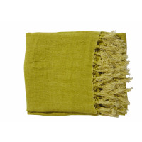 CARAVANSERAIL - throw w/fringes - 100% linen - lime - 130x170 cm