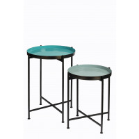 FAVORIT' - set 2 trays on stand - steel - DIA 38/44 x H 48/60 cm - greyish green