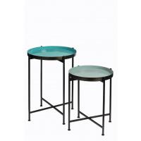 FAVORIT' - Set 2 plateaux s/ pied - acier - DIA 38/44 x H 48/60 cm - gris vert