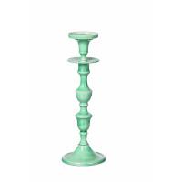 ESSAOUIRA - candle holder - aluminium enamelled - aqua -  L - H37 cm