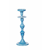 ESSAOUIRA - candle holder - aluminium enamelled - blue -  L - H37 cm