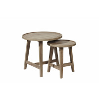 NORDIC - set 2 nesting tables - MDF/chêne finish - DIA 57 x H 53 cm
