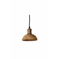 OLBIA - hanglamp - ijzer/ mango hout -  S - DIA17 x H15cm