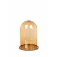 LOULOU - stolp met iridescent effect - glas/hout - M - Ø17x26,5 cm