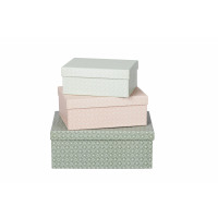 DOLCE - set of 3 boxes - carton - S light green 21x15 - M light pink 25x18 - L dark green 31x23