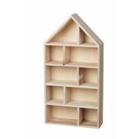 HJEM - deco house - wood - natural/white - 28x9,5x55cm