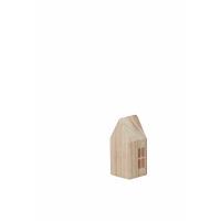 TOIT - deco huisje - hout - naturel - S - 6,5x5,5x13cm