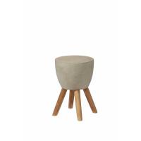VENDREDI - bout de canapé - teck / concrete - DIA 30 x H 45cm