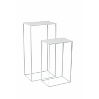 NEW SIMPLE - set/2 stands - iron - L 35/40 x W 24/27 x H 60/80 cm - white