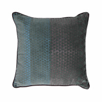 ALCESTE - coussin - velours - print triangles - teal/ bleu - 45x45cm