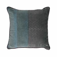 ALCESTE - cushion - velvet - triangle print - teal/ink blue - 45x45cm