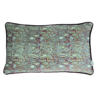 LORENZO - coussin - velours - print coquille - vert/pourpre - 30x50cm