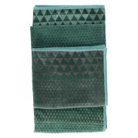 ALCESTE - throw - velvet/cotton - triangle print - grey/green - 130x170cm