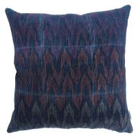 NAÏS - cushion - velvet - herringbone print - purple/ royal blue - 45x45cm