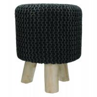 SPHERE - tabouret - stone washed - coton - noir - DIA 35 x H 45cm