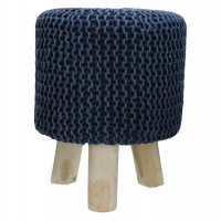 SPHERE - tabouret - stone washed - coton - navy - DIA 35 x H 45cm