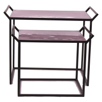 FAVORIT' - Set 2 tables gigognes - metal/émail - lila/ pourpre - L 63x40x50cm + S 50x35x40cm