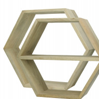 GRAPHIK - Set/2 hexagonal wall supports - 1 with shelf - mango wood - 45 x 15 x 39 cm