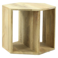 GRAPHIK - table basse hexagonale - manguier - 50 x 50 x 40 cm