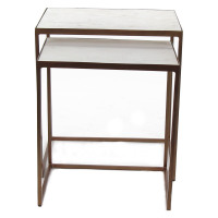 ETRONE - S/2 nesting tables - white marble top - iron legs - 41/46x31/36x45/50 cm