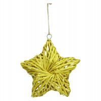 BARI' OLÈ - pendant star - rattan - yellow - M - DIA 26 cm x H 6,5 cm