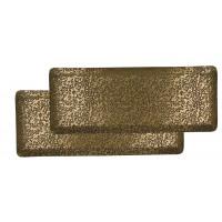 WILLOW - set/2 trays - iron / metal - L 28/33,5 x W 15,5/16,5 x H 2/2 cm - brass