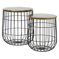 PENN - set of sidetables - metal/wood - M 37x37x41cm L 43x43x46cm