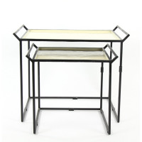 GABI - set of 2 sidetables - metal - black/purple -  S: 53,5x44,5x48 L: 71x50x68cm