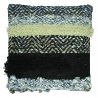 KUSHI - cushion - woven wool/ jute - black - 45x45cm