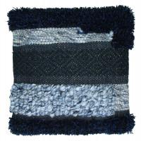 NARANBAATAR - cushion - woven wool/jute - black/blue - 45x45cm