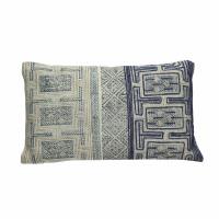 KHOTAN - cushion - cotton stone washed - natural/blue - 30x50cm