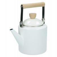 SHIRACHA - teapot - 2,0L - enamelled metal - white - DIA 14 x H 25 cm