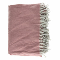 COCOONING - throw w/fringes - 100% brushed cotton - ash rose - 170x130 cm