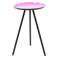 CALDEROS - Side table - black iron legs - rose enamel tray - M -  57 x Ø 36 cm