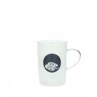 HAPPINESS - verre de thé - verre - nuage bleu foncé - DIA 8x11,5cm
