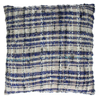 SWEETY - cushion - 100% cotton - black natural & blue - 45x45cm