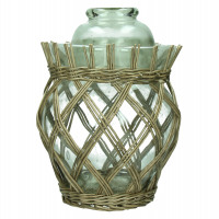 MING - pot with lid - glass - rattan - grey - M - 26,5 x Ø37,5 cm