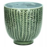 COCOONING - bloempot - fijn aardewerk - donkergroen - L - Ø20 x H20cm