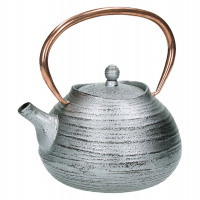 HOJICHA - tea pot - cast iron - L 16 x W 14 x H 12 cm - silver